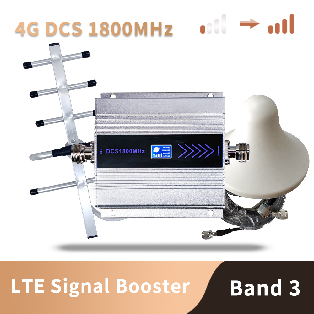 3G 4G LTE DCS 1800mhz Moblie Phone Booster GSM 1800 Signal Repeater Cellular Cell Phone Amplifier Network 65dB Gain LCD Display