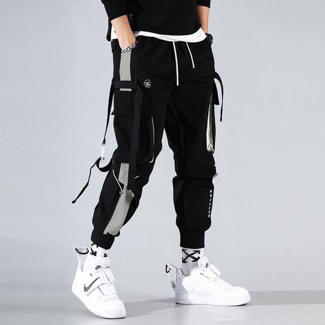 Men Cargo Harem Jogger Pants Men Hip Hop Fashion Casual Track Trousers Streetwear Harajuku Hipster Ribbon Pockets Sweatpants Men 2