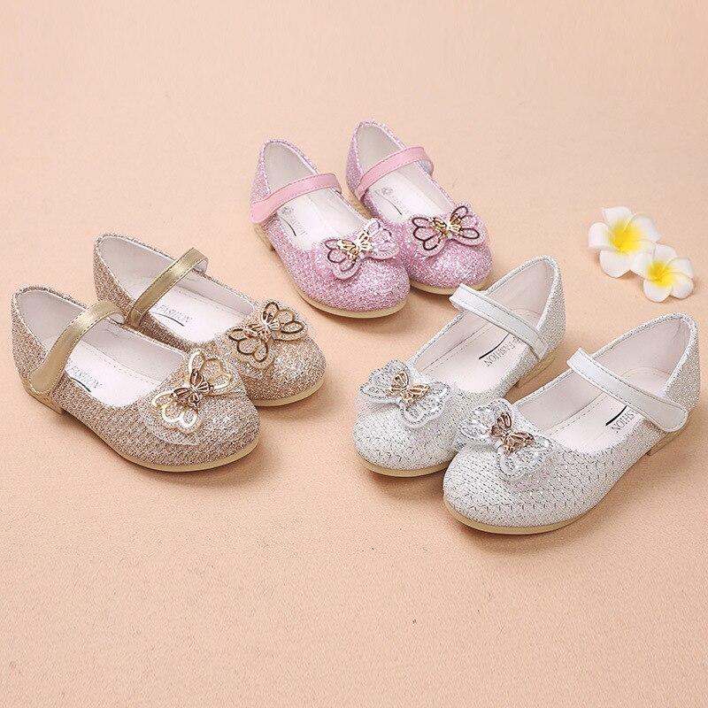 Anne ve Çocuk'ten Tenis Ayakk.'de SKOEX çocuklar rahat ayakkabılar kızlar moda yay prenses düz ayakkabı ışıltı yapay elmas balerin Slip on çocuk parti elbise ayakkabı title=