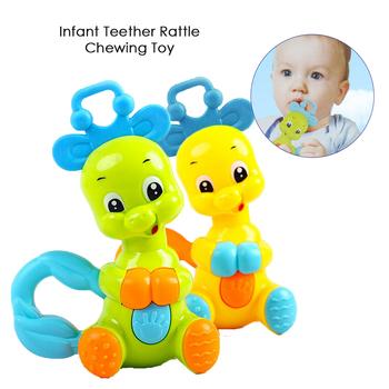 Niemowlęta plastikowe grzechotki dzwony niemowlę gryzak dźwięk zabawka ząbkowanie śpiący pomocnik śliczne niemowlęta śpiące zabawki grzechotka dla dzieci zabawka do żucia tanie i dobre opinie Other Unisex 0-12 miesięcy Nadziewane 11*5*15Cm cartoon ECX112 Oddziela
