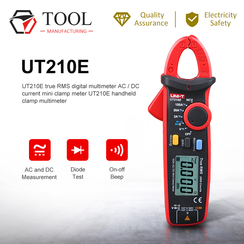 UNI-T UT210E Mini Clamp Meter Multímetro Digital True RMS AC/DC Detector Atual Handheld Multímetro Da Braçadeira