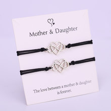 (A) pulseira mãe filha infinito coração, pulseiras de corda ajustável mulheres menina moda joias envio
