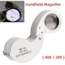 Portátil dobrável lupa lupa 40x 25mm/20x 21mm lupa lupa jóias moedas carimbos antiguidades handheld len
