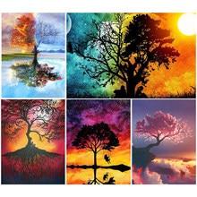 5D Diy diamentowe malowanie cztery pory roku drzewo krzyż zestaw do szycia pełne wiertło kwadratowe hafty mozaika obraz z kryształków wystrój
