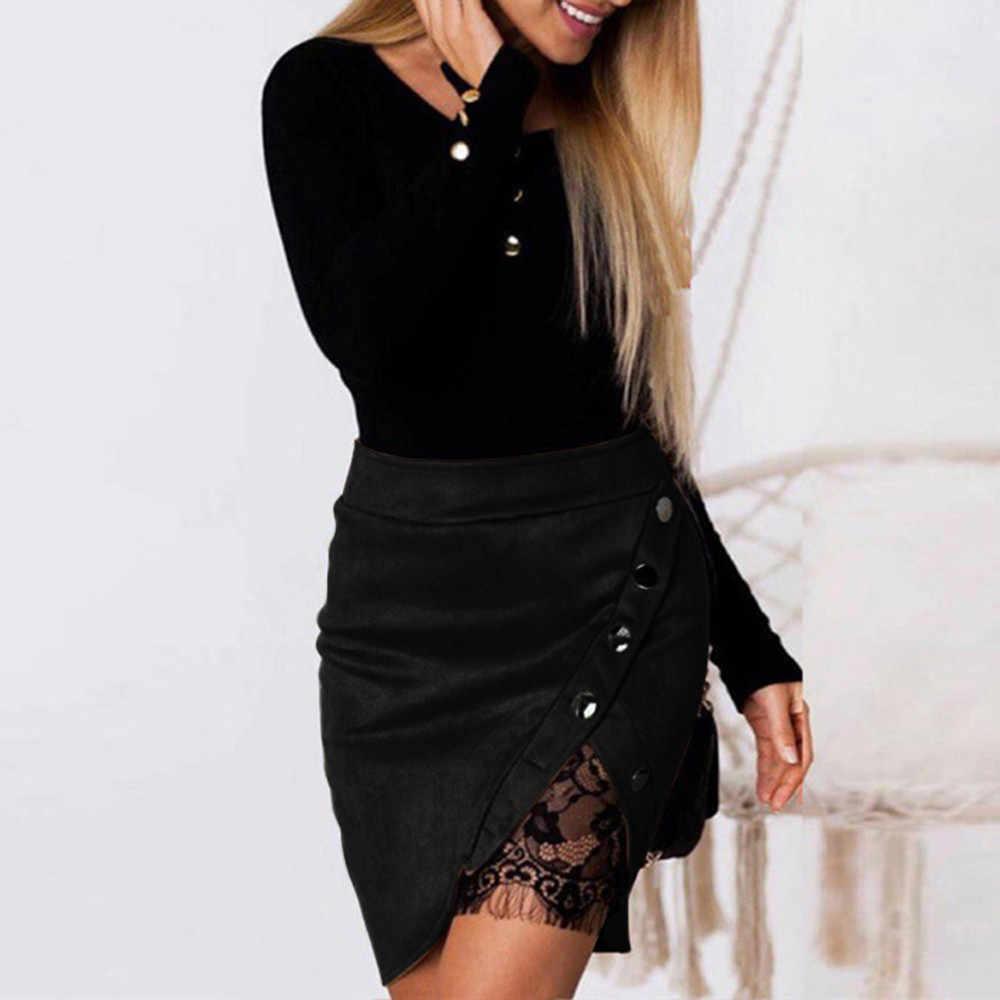 38 # nouvelle mode femmes dames taille haute crayon jupes bouton dentelle Patchwork Sexy daim en cuir fendu partie décontracté Mini jupe