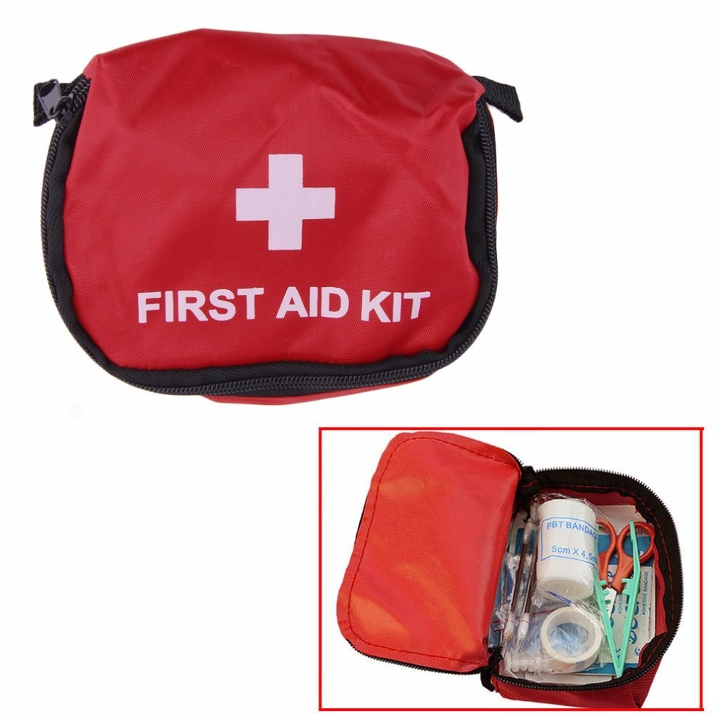 First Aid Kit 0.7L Red PVC Outdoors Camping Emergency Survival Empty Bag Bandage Drug Waterproof Storage Bag 11*15.5*5cm