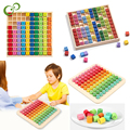 Настольная игра с деревянным умножением, настольная игра для детей, дошкольные Обучающие игрушки Монтессори, подарок, 100 подсчет, деревянные строительные блоки YJN
