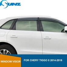 ควันรถด้านข้างDeflectorsหน้าต่างสำหรับChery Tiggo 5 2014 2015 2016 2017 2018 Sun Rain Deflectorหน้าต่างVisorสภาพอากาศshield SUNZ