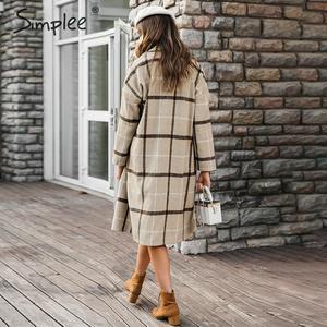 Image 4 - Simplee אלגנטי משובץ נשים טוויד מעיל כפתורי כיסי סתיו חורף נקבה מעילי תערובת V צוואר משרד ארוך חם מעילי