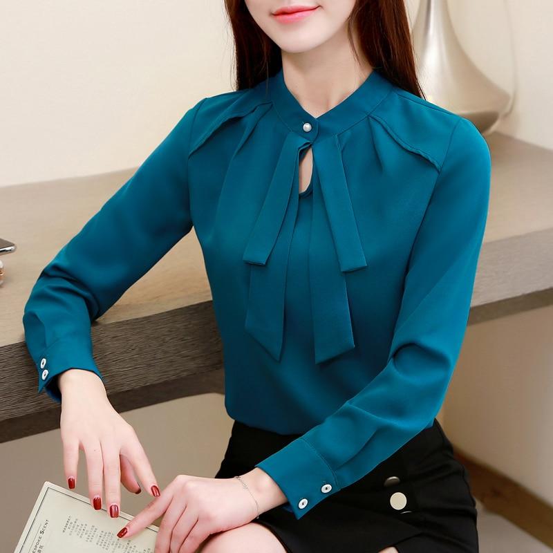 Fashion Womens Tops And Blouses Plus Size Chiffon Blouse Shirt Bow Collar Office Blouse Long Sleeve Women Shirts Blusas 2236 50 3