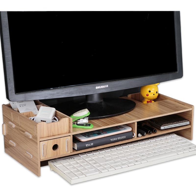 multi funcao desktop monitor suporte de tela do computador riser prateleira de madeira plinth forte portatil