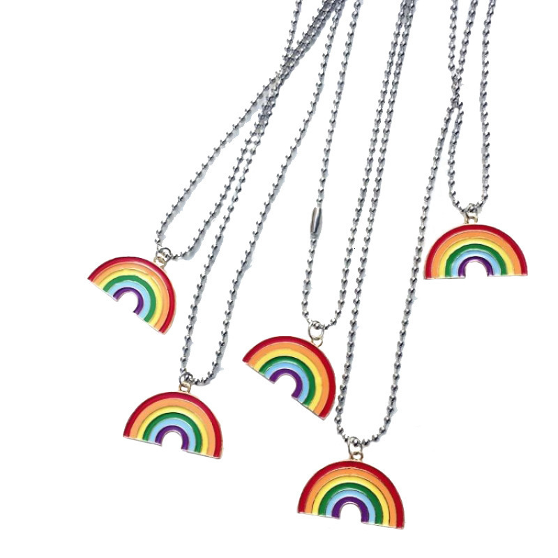H4c762521e9b34180838f1198adf9b861b - kpop Cute Colorful Rainbow Pendant Stainless Steel Necklace Long Chain Sweetheart For Women Man Girl Egirl Aesthetic Jewelry