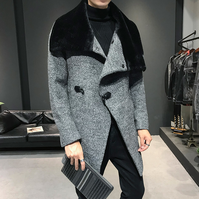 2019 Male Solid Wool Blend Mid Long Jacket Winter Woolen Coat Men Fur Collar Warm Trench Coat Manteau Homme Overcoat Size M-3XL
