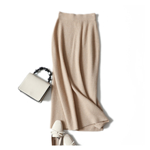 Long-Skirt Knittted Autumn 100%Cashmere-Skirt Winter New-Style Women's Casual High-Quality