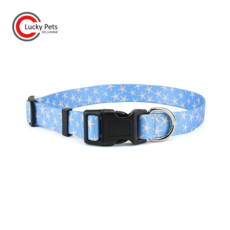 Foreign Trade Hot Sales Dog Supplies Thermal Transfer Pet Collar Dog Printed Neck Ring Dog Collar Hand Holding Rope Manufacturer