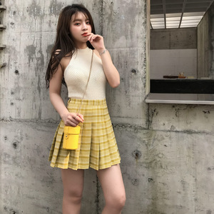 2020 Yellow Plaid Skirt Pleated Green Skirt High Waist A-line School Female Short Mini Skirts Womens Korean Japanese