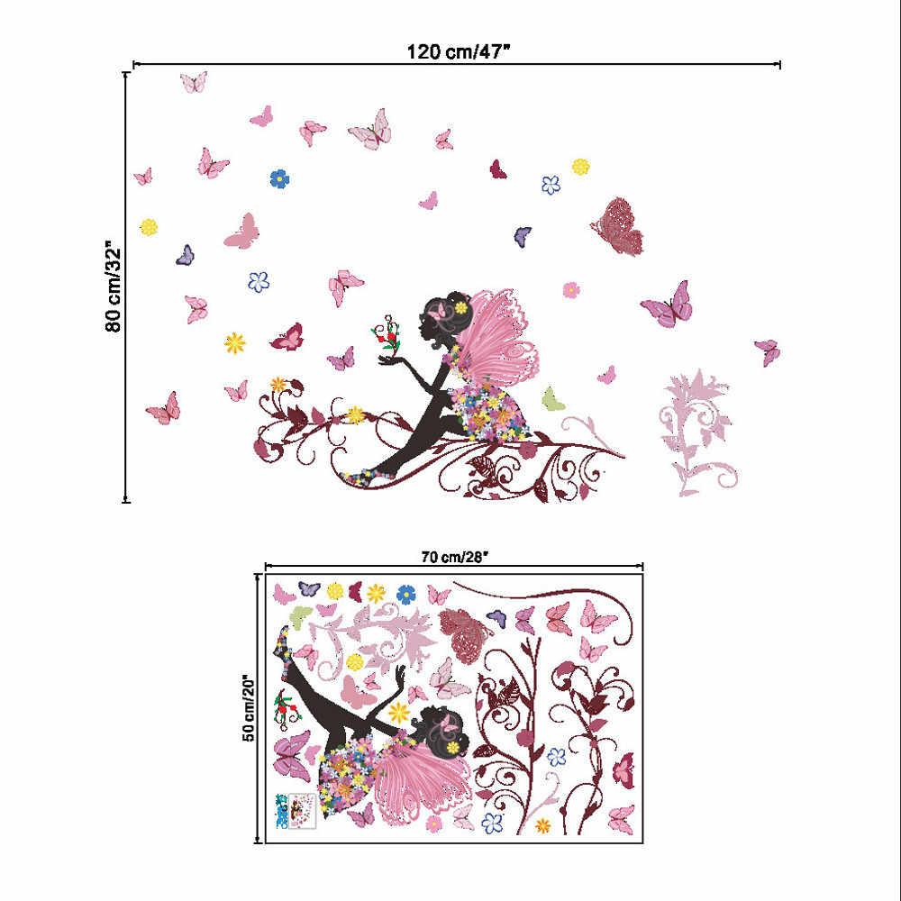 طفلة غرفة فراشة زهرة الجنية الجدار ملصق للأطفال غرفة ملصقات الزخرفية الأطفال غرفة نوم الحضانة الجدار ملصق لاصق لامع ورائع