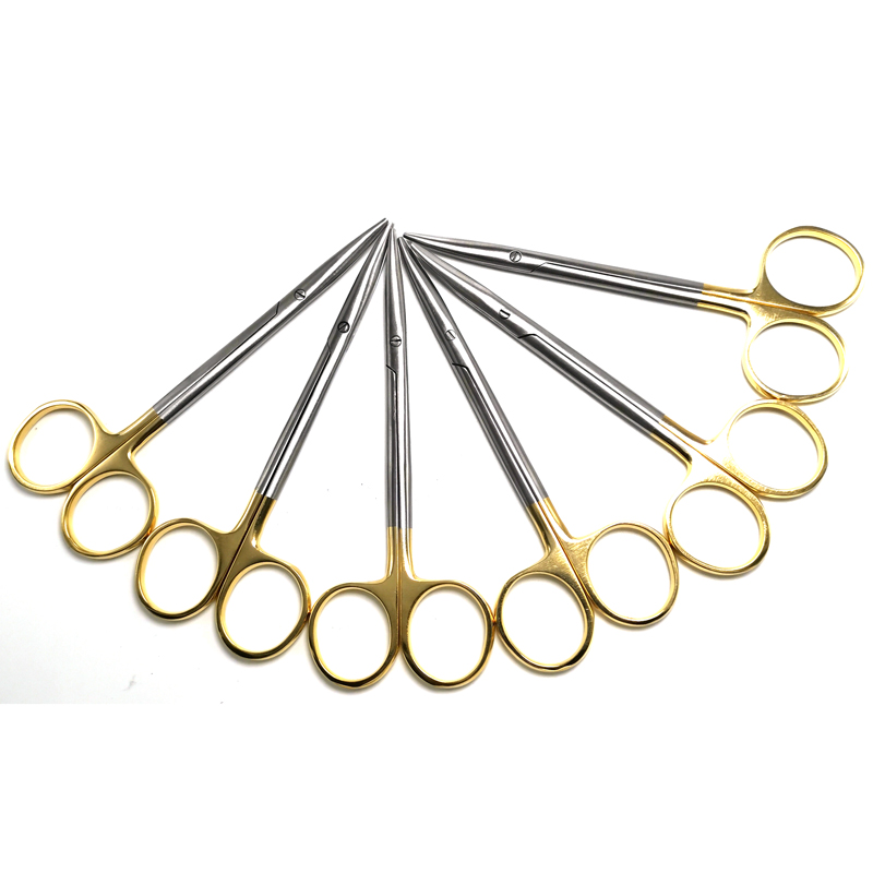 Gold Handle Blunt Scissors Nose Plastic Equipment Cosmetic Surgery Tools Nasal Head Round Scissors