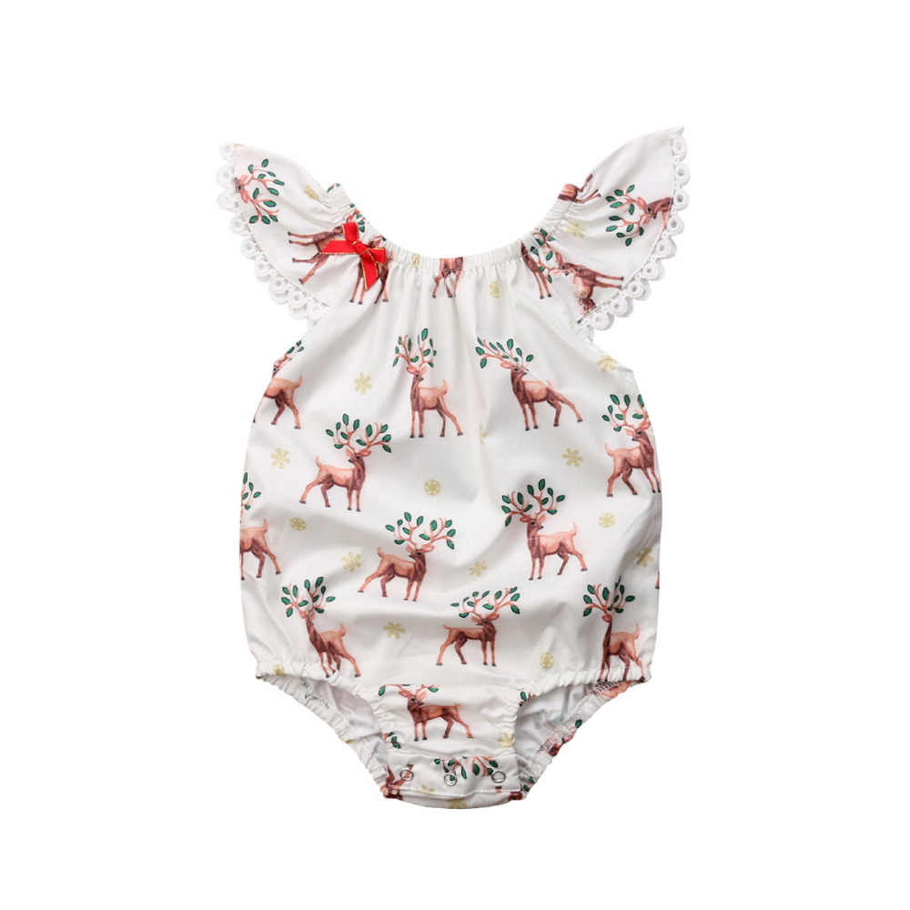 0-24M Christmas Baby Girl Clothes Infant Newborn Girl Lace Bow Romper Jumpsuit Cartoon Deer Xmas Costumes