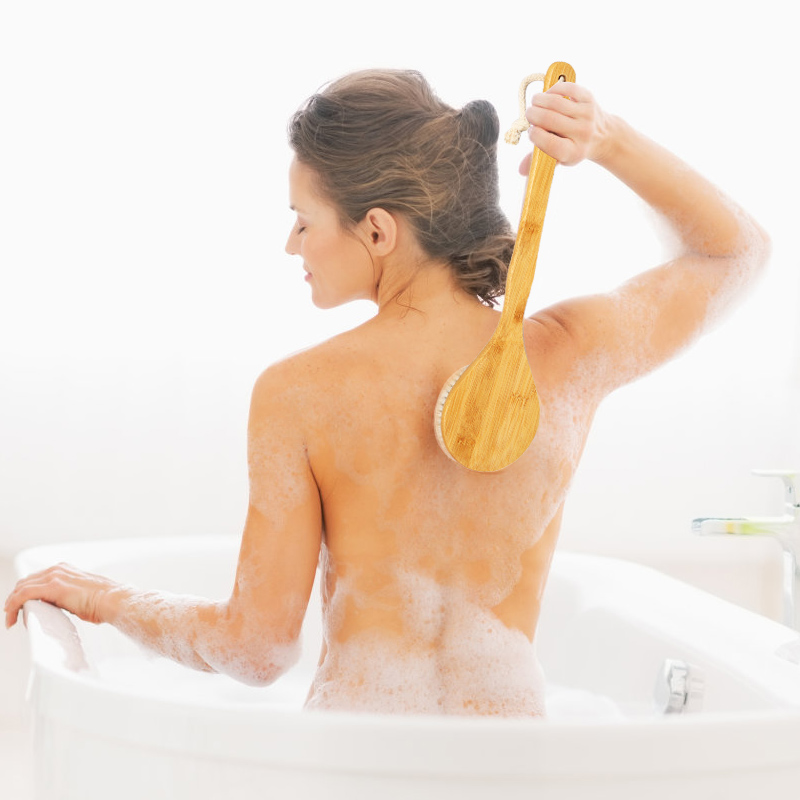 Body Brush Natural Horse Hair Bath Brush Dry Skin Long Wooden Handle Exfoliation Brush Massager Bath Shower Scrubber Gifts TSLM2