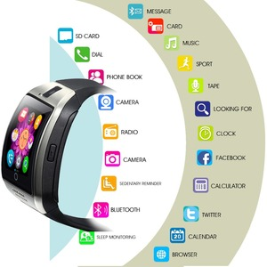 Image 2 - 2020 Bluetooth Smart Watch Men Q18 With Touch Screen Big Battery Support  Sim Card Camera for Android Phone Smartwatch