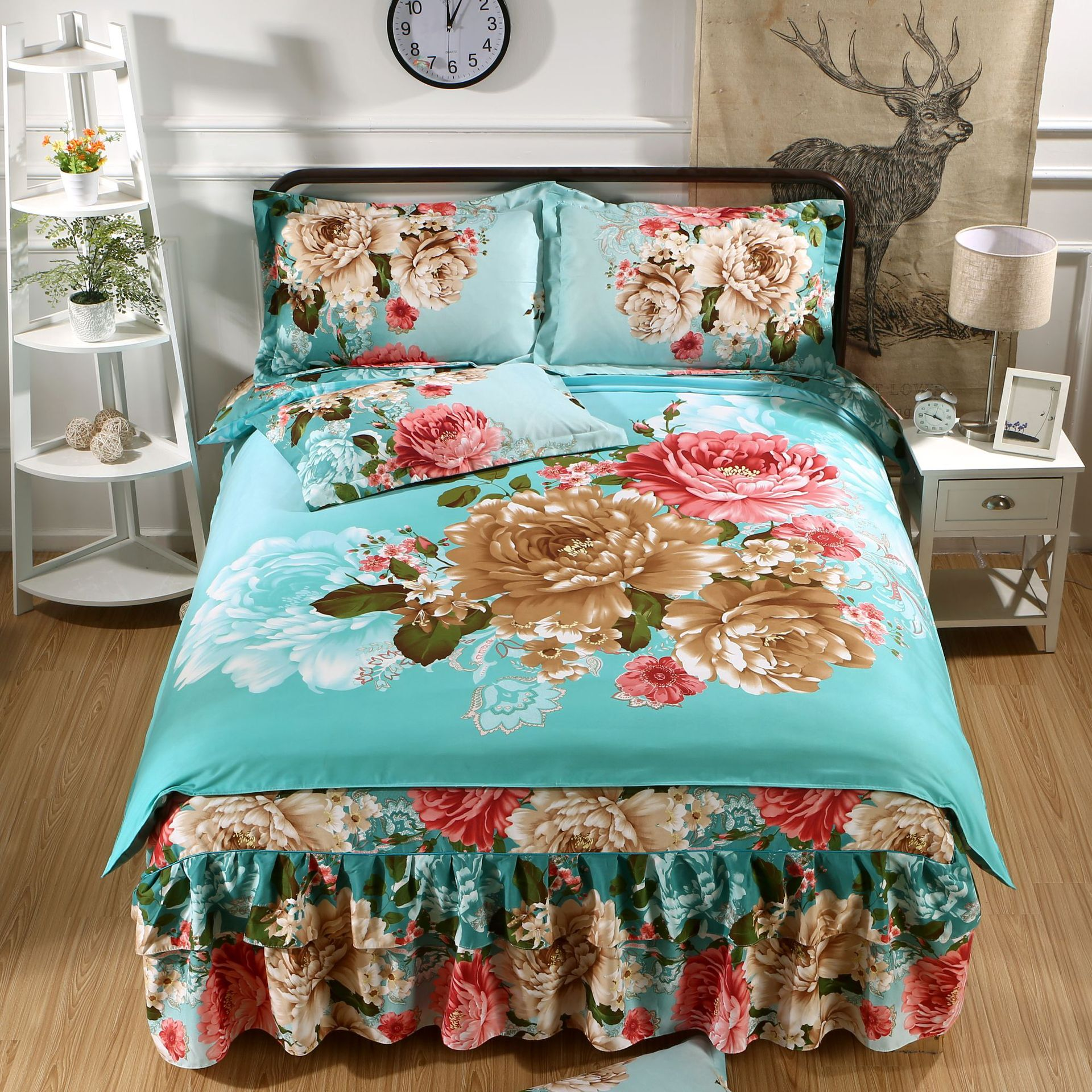 2019 Wechat Business Hot Selling Version of the Flower Plant Cashmere Wool Korean-style Princess Double Layer Four-piece of Bed