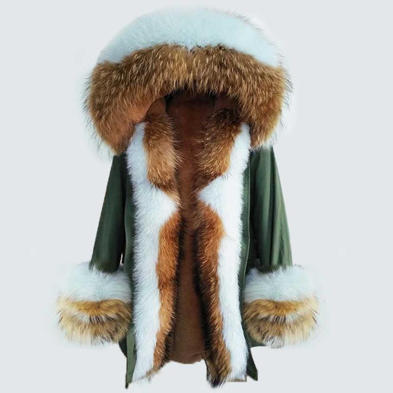 OFTBUY 2019 Lange Parka Echtpelz Mantel Winter Jacke Frauen Natürliche Waschbär Pelz Fuchs Pelz Kragen Kapuze Manschetten Dicke Warme oberbekleidung Neue