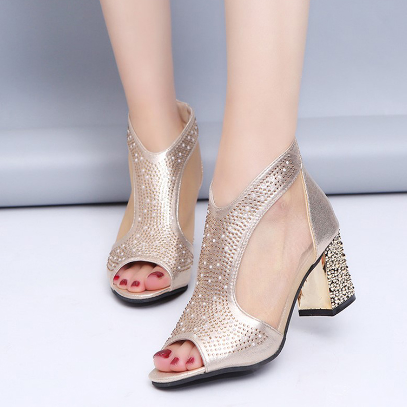 Summer Women New Sandals Bling High Heels Crystal Sexy Peep Toe Mesh Women Pumps Cover Heel Fashion Party Wedding Shoes Ladies