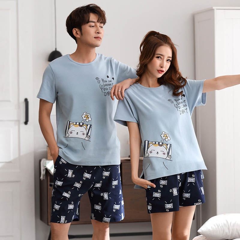 Couples sleepwear Women Men summer Cartoon short Sleeve Pullover Pants Pajamas Set cotton Casual Lounge Wear New M/L/XL/2XL/3XL