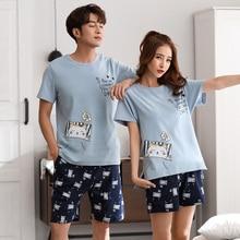 Couples sleepwear Women Men summer Cartoon short Sleeve Pullover Pants Pajamas