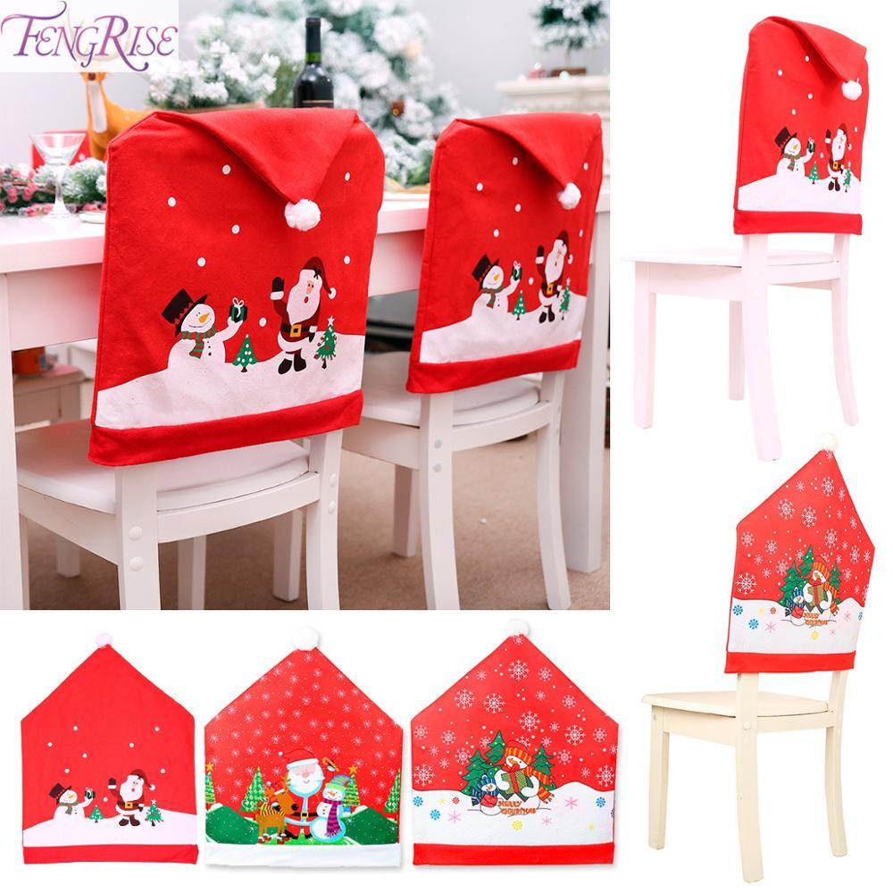 FENGRISE Santa Claus Chair Cover Christmas Decoration For Home Christmas Table Decor 2019 Navidad Xmas Gift Ornament Party Decor