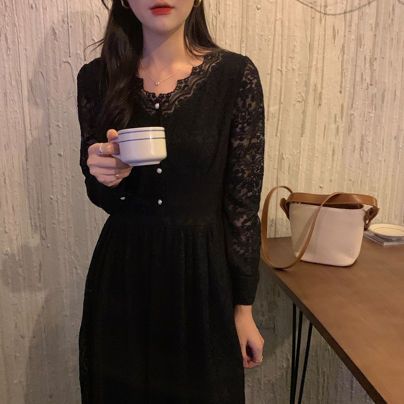 H4c7709380de84accb6c2025ec9af40deC - Spring / Autumn V-Neck Long Sleeves Lace Midi Dress