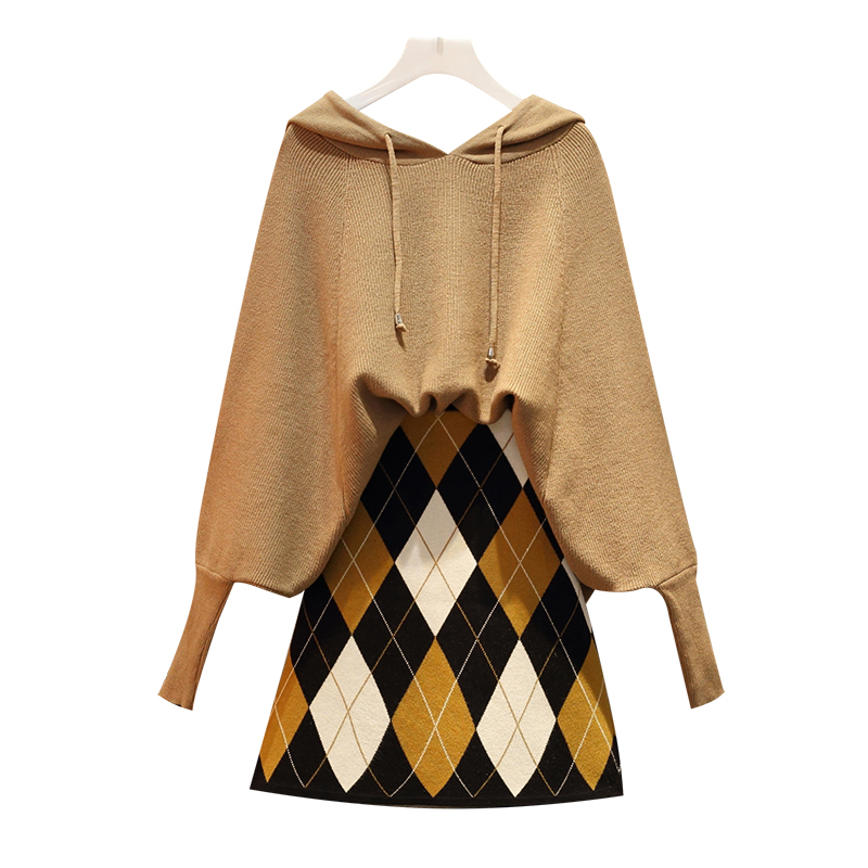 Big Yards Autumn Outfit Two Suits Loose Batwing Cloak Sweater Grid Woolen Skirt Women 2 Pcs Matching Set Outfit Knitwear