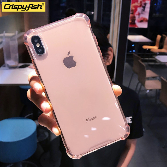 Shockproof Bumper Transparent Silicone Phone Case For iPhone X XS XR XS Max 8 7 6 6S Plus Clear protection Cover For 11 Por Max