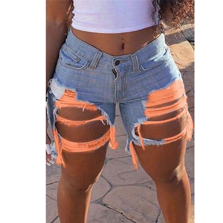 Hot sale women's summer ripped denim shorts fashion Internet celebrities shorts jeans plus size shorts S-5XL drop shipping 2