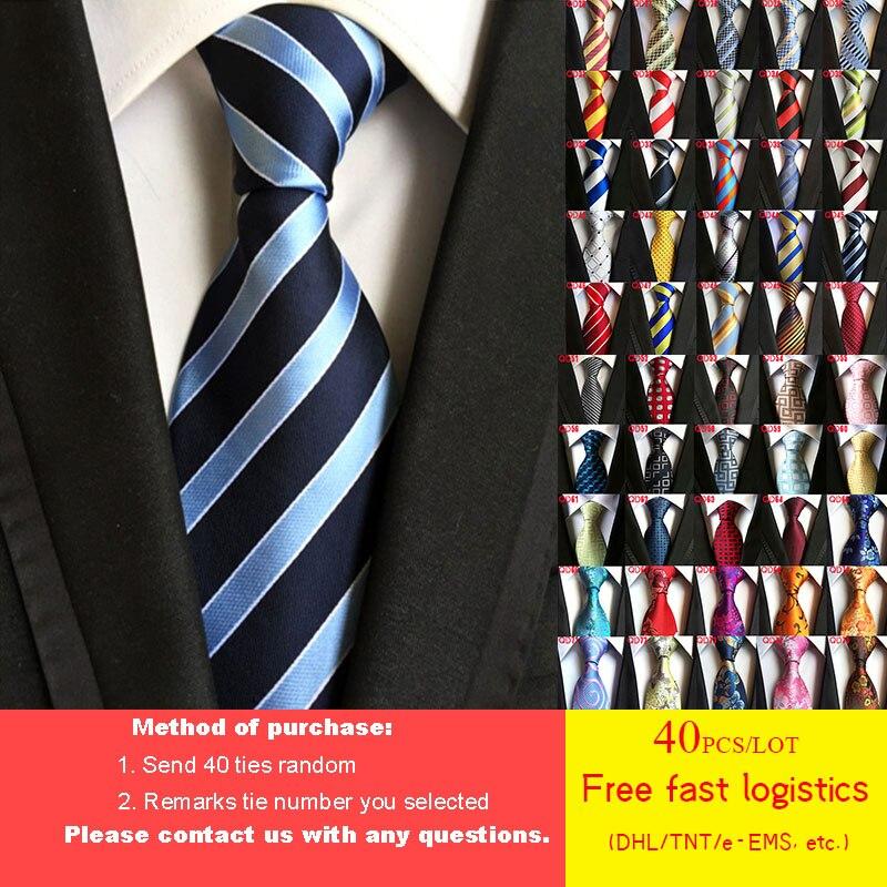 Бесплатная доставка DHL/TNT, 40 шт./лот, 52 стиля, галстук, оптовая продажа, классический, 8 см, мужской галстук, 100% шелк, роскошный, в полоску, делово...