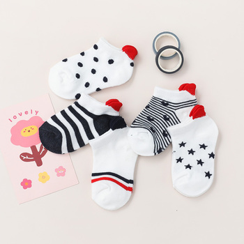 5Pairs/lot 0-2Y Cute Lovely Short Baby Socks Red Heart for Girls Cotton Mesh Cute Newborn Boy Toddler White Sock 2