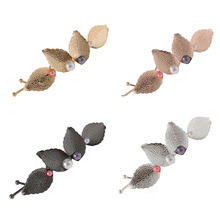 New Retro Hair Clips For Women Fashion Colorful Pearl Leaf Metal Hairpin Girls Barrette Accessories Headwear