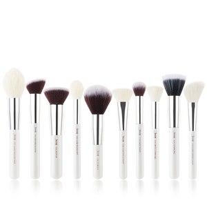 Image 2 - Jessup brushes 10pcs Black/Silver Face Makeup brushes set beauty Cosmetic Make up brush Contour Powder blush