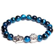 Dog Bracelet Fatima Hand Animal Charm Men Tiger Eye Natural Stone Beads Lava Pendant Statement