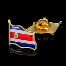 Costa Rica Flag National Metal Flag Pin Country Waving Badge Brooch for Clothes Lapel Bag Decoration israel flag pin brooch waving national flag style flag badge brooch w butterfly clip clothes accessories