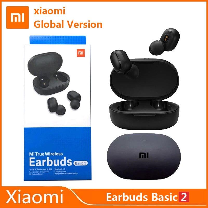 Xiaomi redmi airdots 2 tws bluetooth fone de ouvido versão global mi verdadeiro fones sem fio básico 2 jogo modo automático ligação