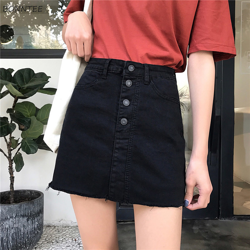 Skirts Women Single Breasted Black A-Line Slim Trendy Pockets Womens High Quality Female All-match Summer Female Casual Daily