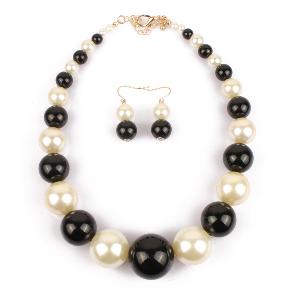 Chunky Pearl Collar Necklace and Earring Set