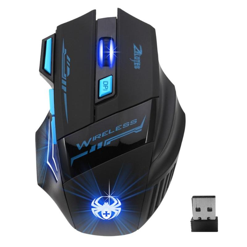 ZELOTES F-14 Gaming Mouse F14 USB 2.4GHz Wireless 2400DPI 7 Buttons LED Optical Computer Mouse For PC Laptop Gamer Mice Mause