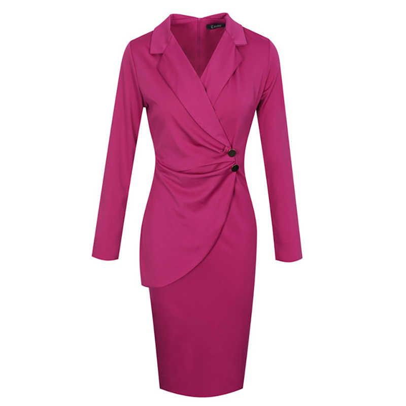 ビジネススーツオフィスの女性の摩耗 Lc6152 ドレス長袖女性エレガンス固体夏赤ブレザードレス Fahionable オフィス女性