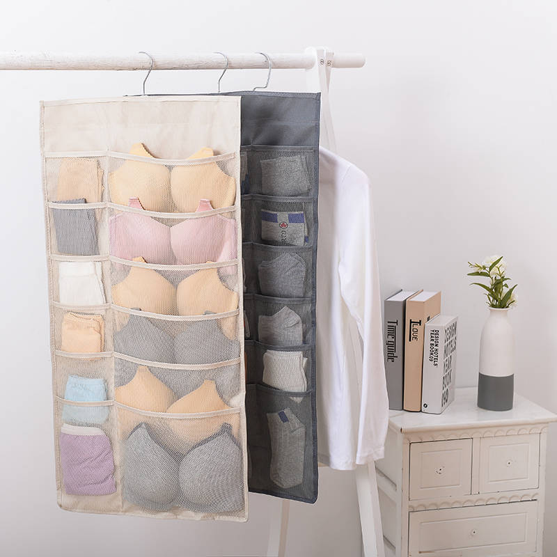 Wardrobe Storage Bag Foldable Hanging Organizer Underware Bra Socks Multi Pockets Bag Oxford Fabric Hang Storage Organizer Bag