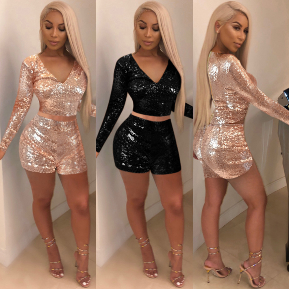 2019 Women Hot Sale Deep V-neck Sequins Zipper Two-piece Pants Nightclub Clothing  Plus Size Two Piece Outfits