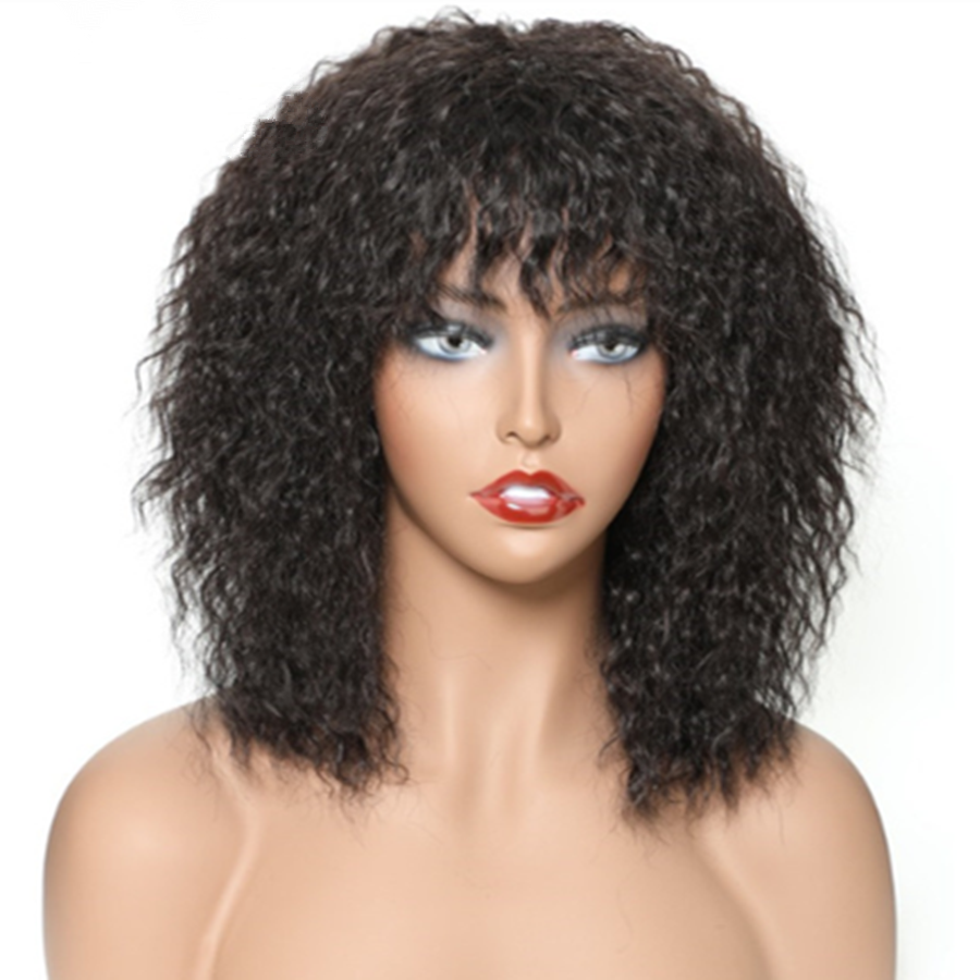 MORICHY Short Human Hair Wigs  Puffy Afro Wig Kinky Straight Brazilian Natural Color Non-Remy Human Hair Free Shipping