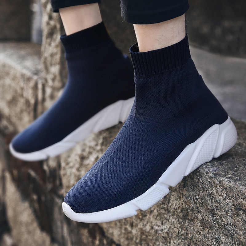 Işık yüksek Top vulkanize ayakkabı kadınlar nefes streç çorap ayakkabı bayanlar üzerinde kayma platform ayakkabılar çift eğitmenler ayakkabı 43